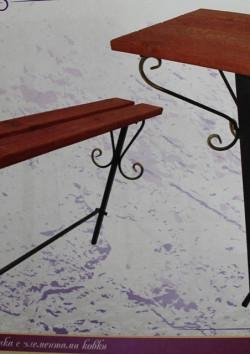 столик + лавочка с элементами ковки